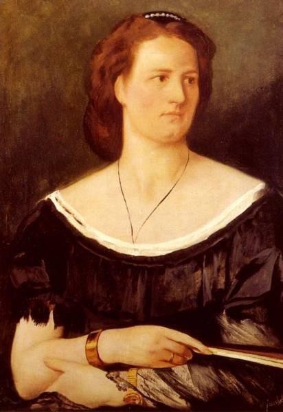 Anselm Portrait Of A Lady Holding A Fan